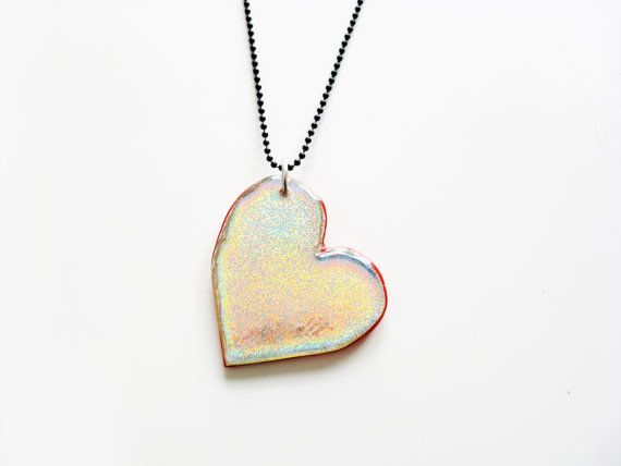 Large heart pendant red heart necklace valentines day holographic large heart pendant red heart necklace valentines day holographic charm two sided necklace mozeypictures Images