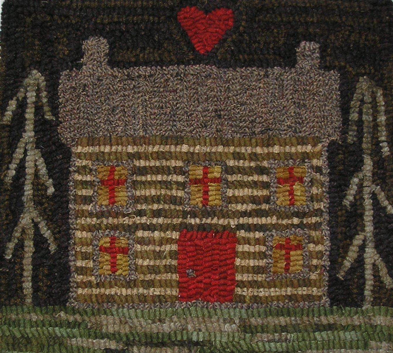 Hand Made Primitive Hooked Rug Log Cabin Folk Art Early Style Ebay