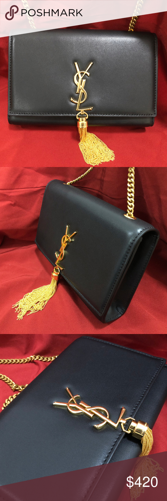 "523822cf32b USED YSL Medium Classic Kate Tassel Black Bag Used Yves Saint Laurent  authentic ""Kate"" shoulder bag. Worn twice, like-new condition. 100%  authentic."