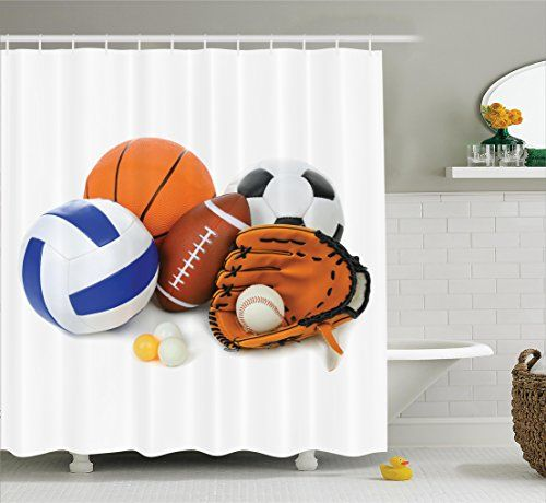 Sports Decor Shower Curtain Set By Ambesonne Many Different Sports