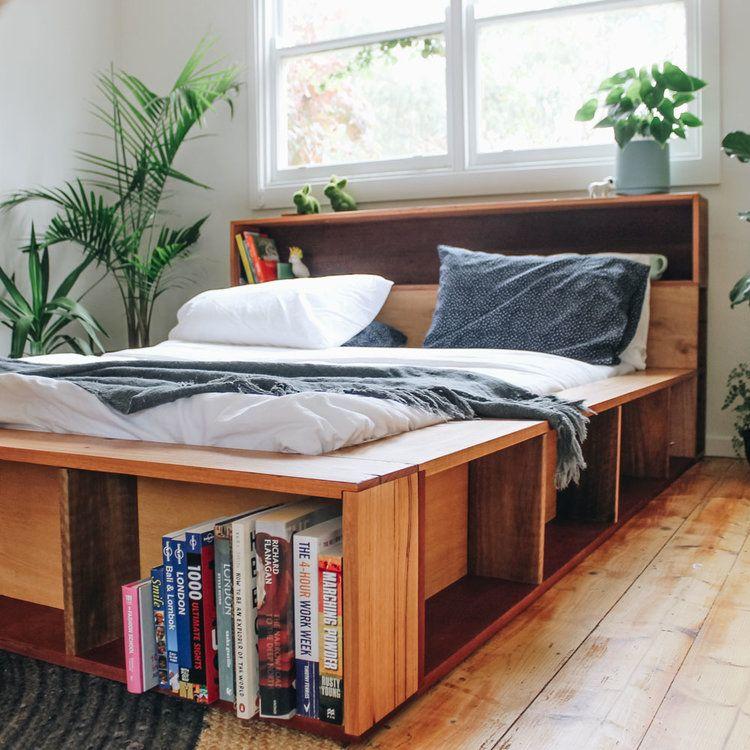 Platform Bookshelf Bed Made Out Of Recycled Timber Handmade By Al Imo Www Alandimohandmade Com Au Melb Bookshelves In Bedroom Bookshelf Bed Timber Furniture