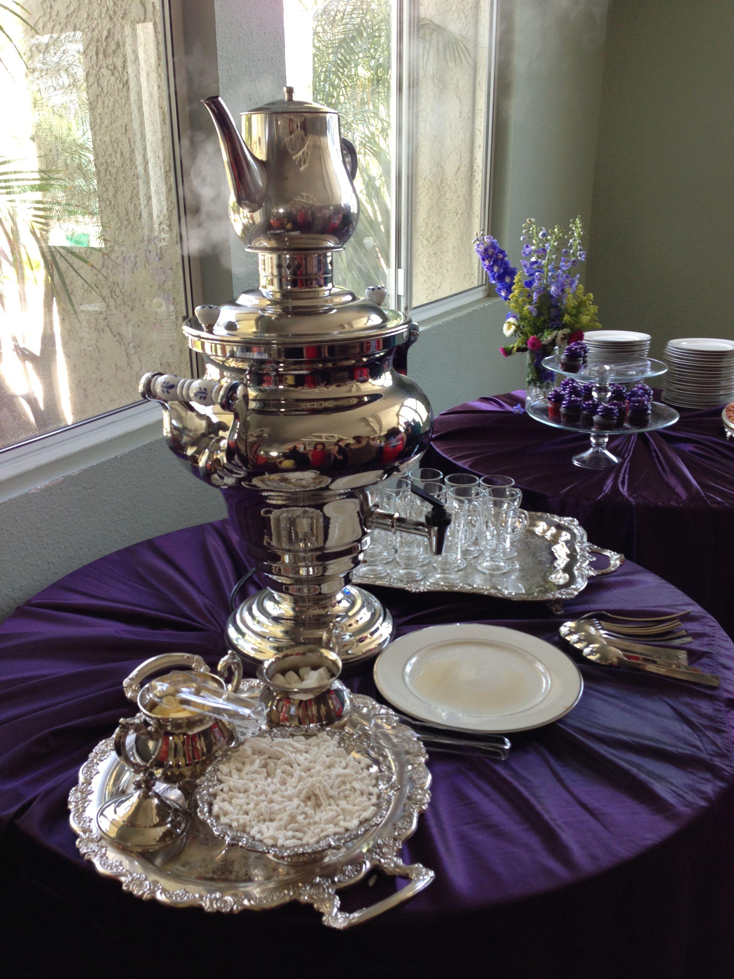 persian samavar tea station at a bridal shower