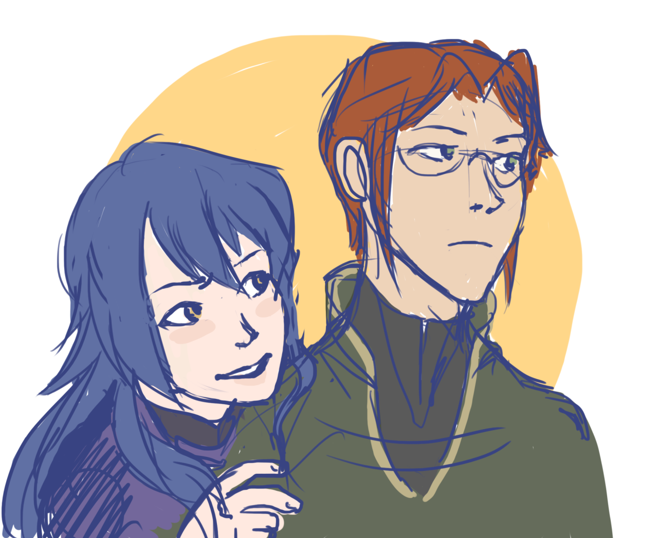 laurent and lucina being the serious, unfun people that they are but trying to loosen up around each other and sometimes one will make a joke and the other will take it very literally until realizing... <<I think they have humor but they don't have the time for it. When they do, I think it's very well thought out.