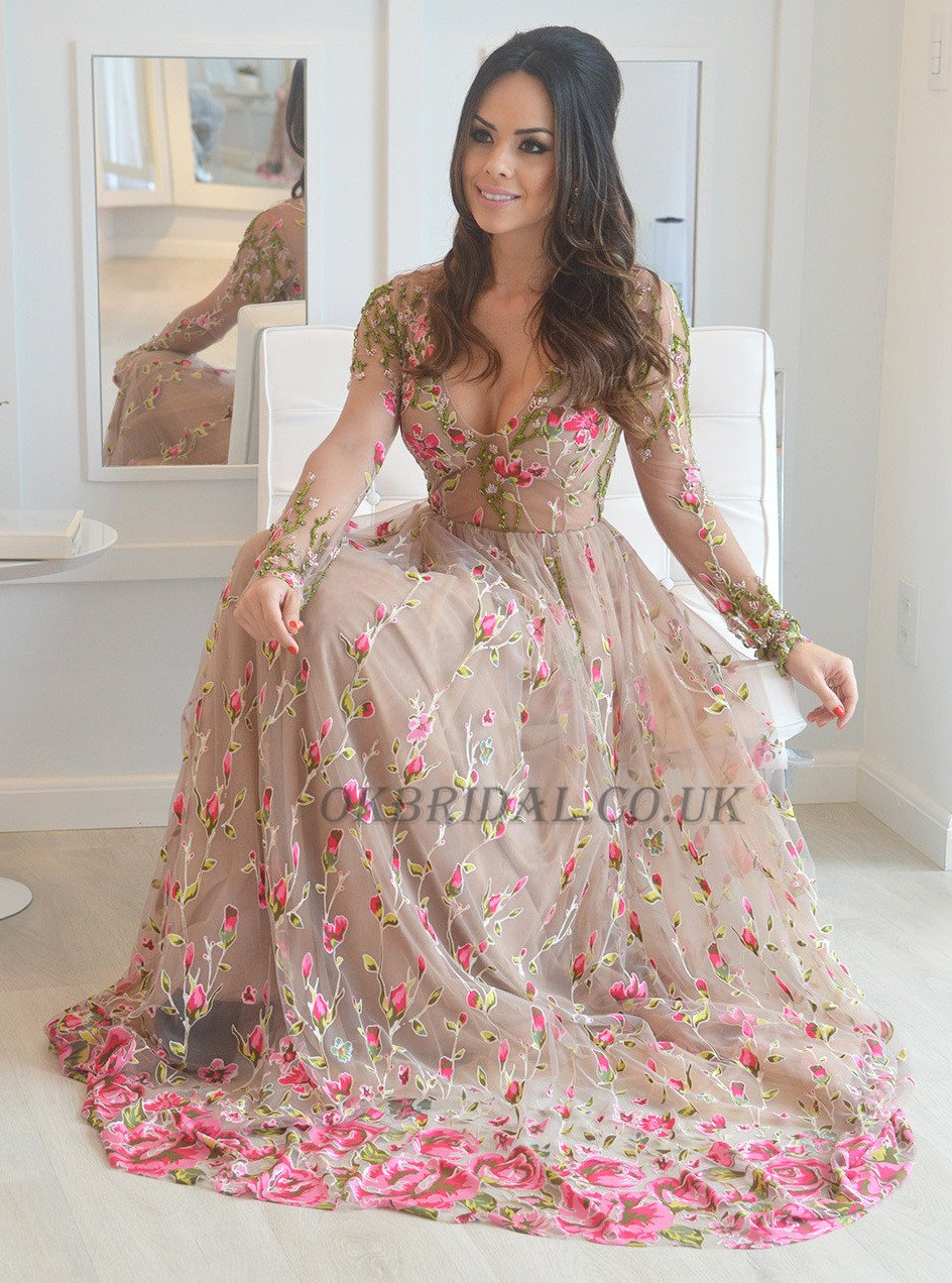Applique prom dress long sleeve prom dress tulle prom dress v