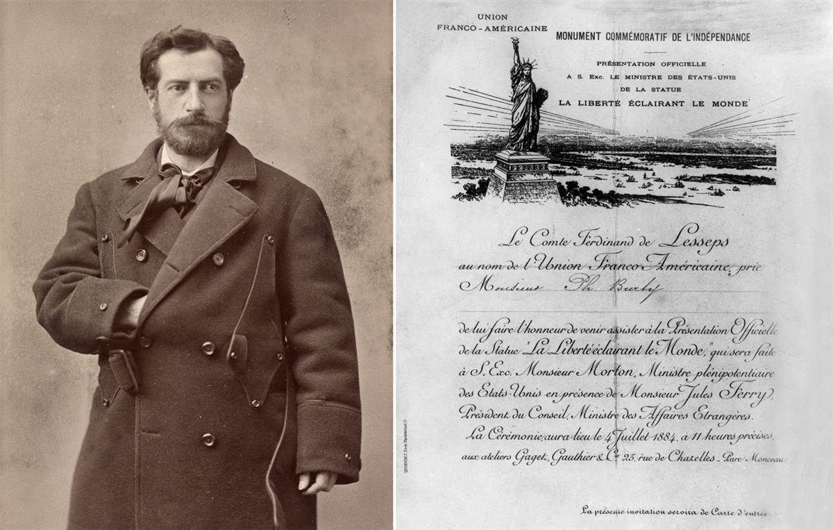 French architect and sculptor Frederic Auguste Bartholdi (1834-1904), creator of the Statue of Liberty, stands for a portrait in 1870. At right, a photograph of the invitation by Ferdinand de Lesseps for presentation of Statue of Liberty to American minister Mr. Morton on July 4, 1884, in Paris, France.