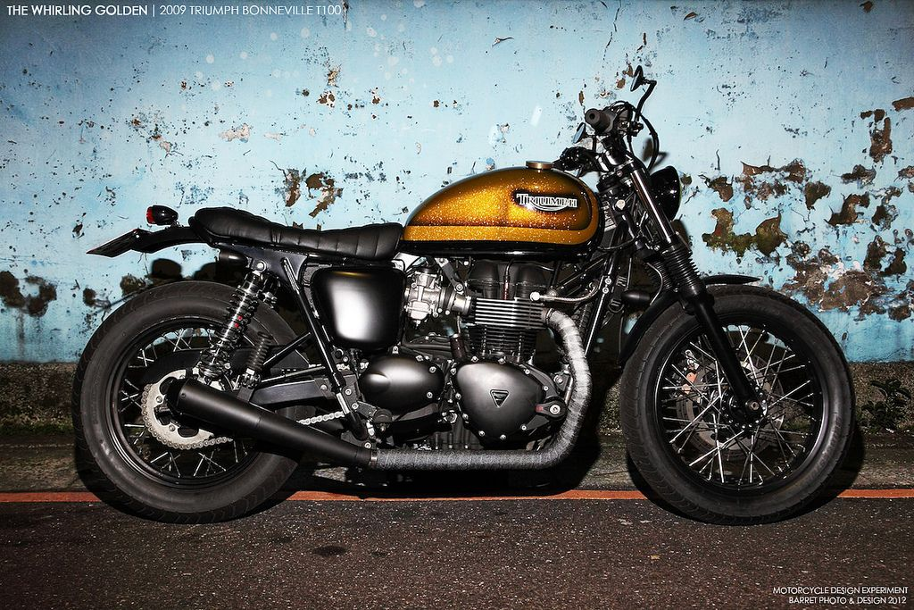 whirling golden triumph bonneville ~ return of the cafe racers