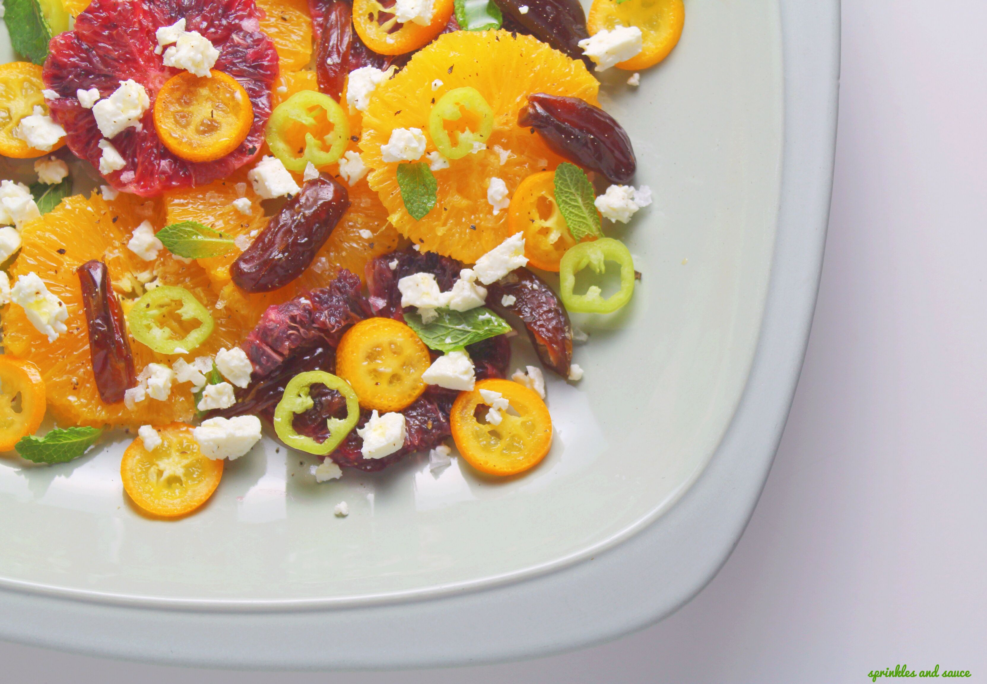 Orange Kumquat Date and Feta Salad