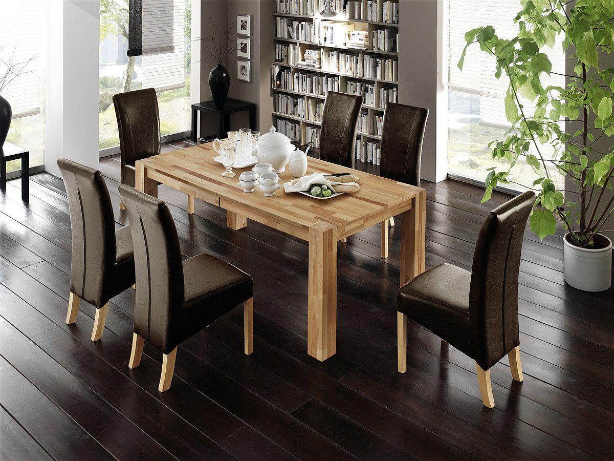 Esstisch 200 X 100 Cm Mit 6 Stühlen Woody 41-00549 Buche Holz Modern ...