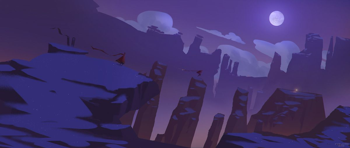 Journey Picture 2d Fan Art Landscape Cartoon Night Moon Mountains Environment Concept Art Art Background Concept Art