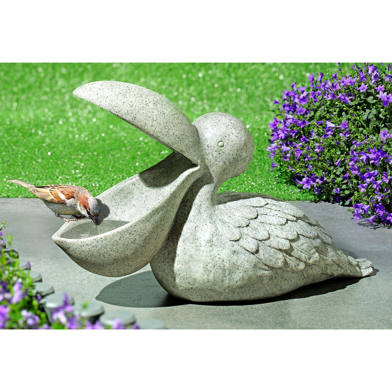 Steinfigur Tierfigur Vogeltränke Muschel terracotta