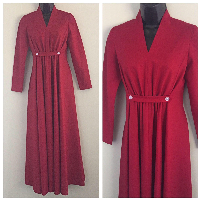 Vtg s scarlet red polyester vneck medium empire waist long