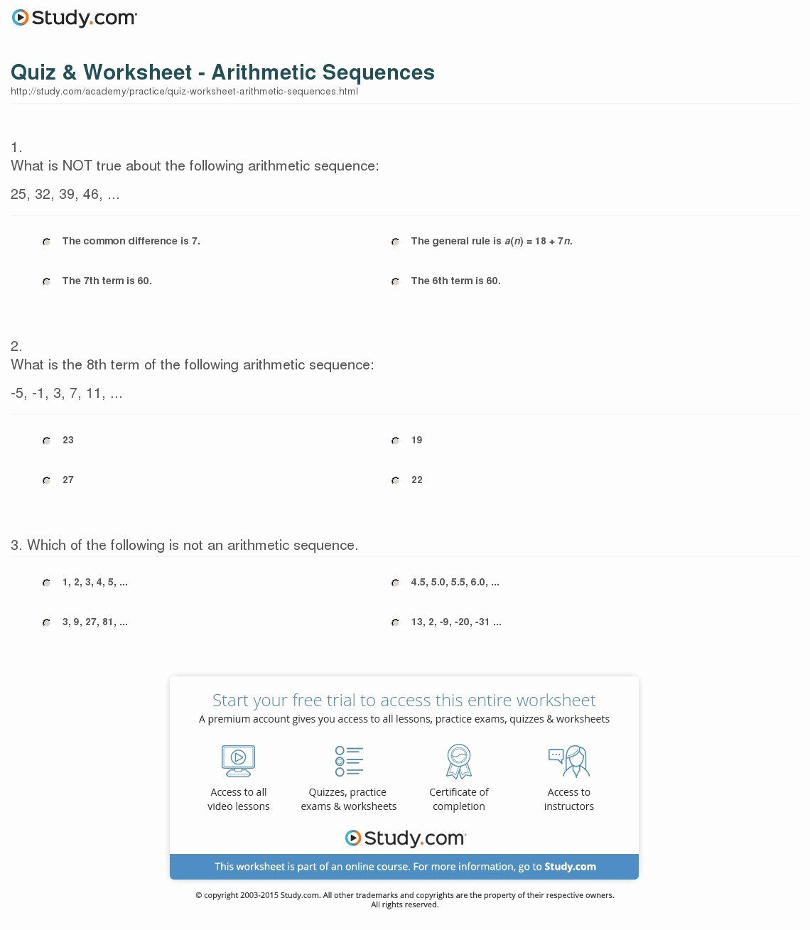 50 Arithmetic Sequence Worksheet with Answers in 2020 ...