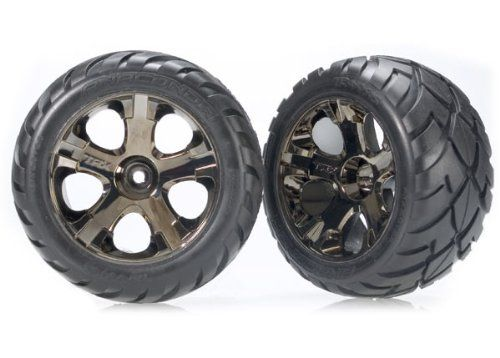 Traxxas 3770A Alias 2.8-Inch Pin Tires Assembled on All-Star Black-Chrome Wheels