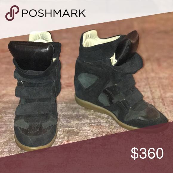 Sneakers Leather Marant Bekett Isabel Wedge Trimmed Suede Nnvy8wOm0