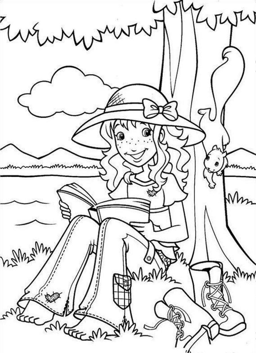 Holly Hobbie Reading Under Tree Coloring Page Coloringplus Com Coloring Pages Tree Coloring Page Disney Coloring Pages