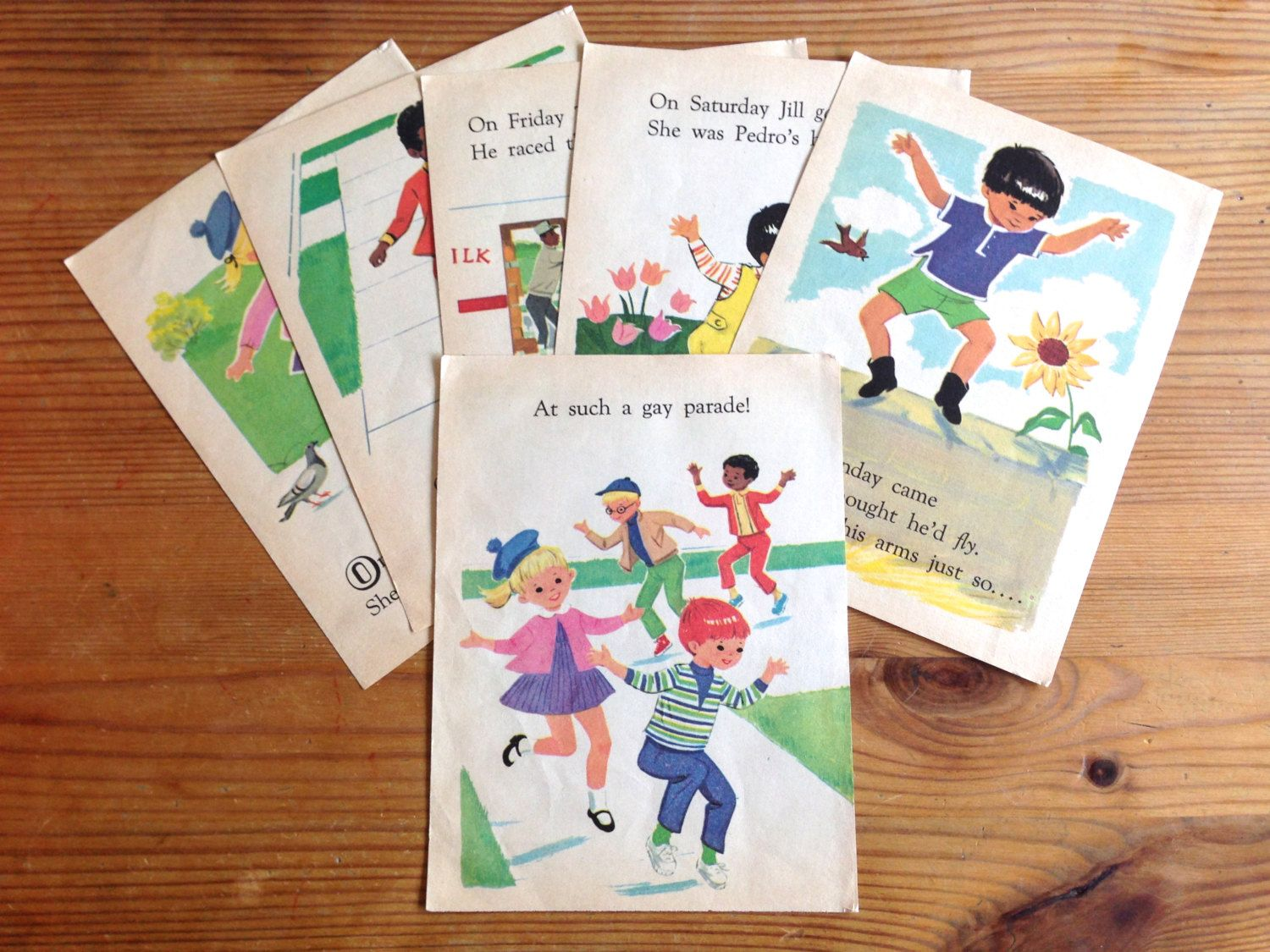 Vintage Children's Book Illustrations. Six Pages. From 1971 Book 'Hoppity Skip'. Scrapbooking. Decoupage. Mixed Media. Crafting. Journaling. by AntVillage on Etsy