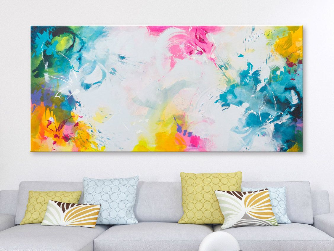Horizontal Wall Art Abstract Paintings On Canvas Pink Etsy Pink Abstract Art Modern Art Abstract Horizontal Wall Art