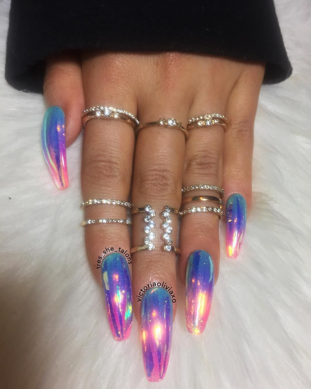 Press on nails by @tres_she_talons in Mermaid Opal ✨ (Length: long ...