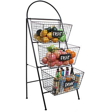 3 Tier Modern Black Metal Wire Mesh Basket Floor Rack Shelf Organizer Stand W Chalkboard Labels Shelf Organization Rack Shelf Metal Wire
