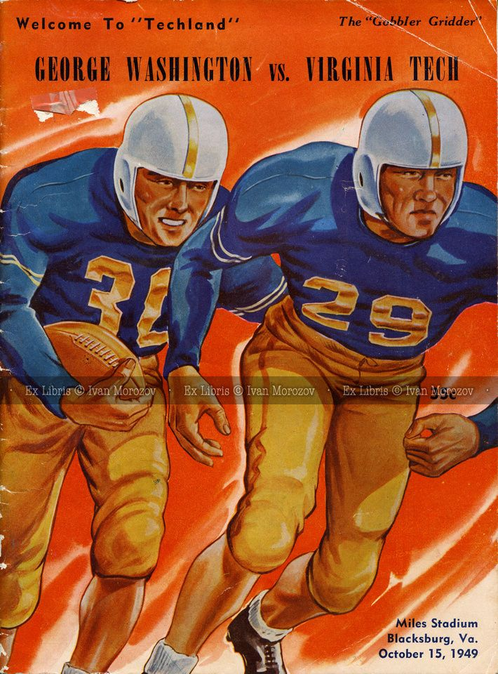 1949.10.15. GWU at Virginia Tech. George Washington University (Colonials) at Virginia Tech (Hokies).  VT Head Coach: Robert C. McNeish.  Miles Stadium, Blacksburg, VA.  Final score: Virginia Tech 14, GWU 24. Vintage football game program.