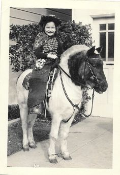Photo Circa1957 - Pretty Little Girl on sturdy pony.