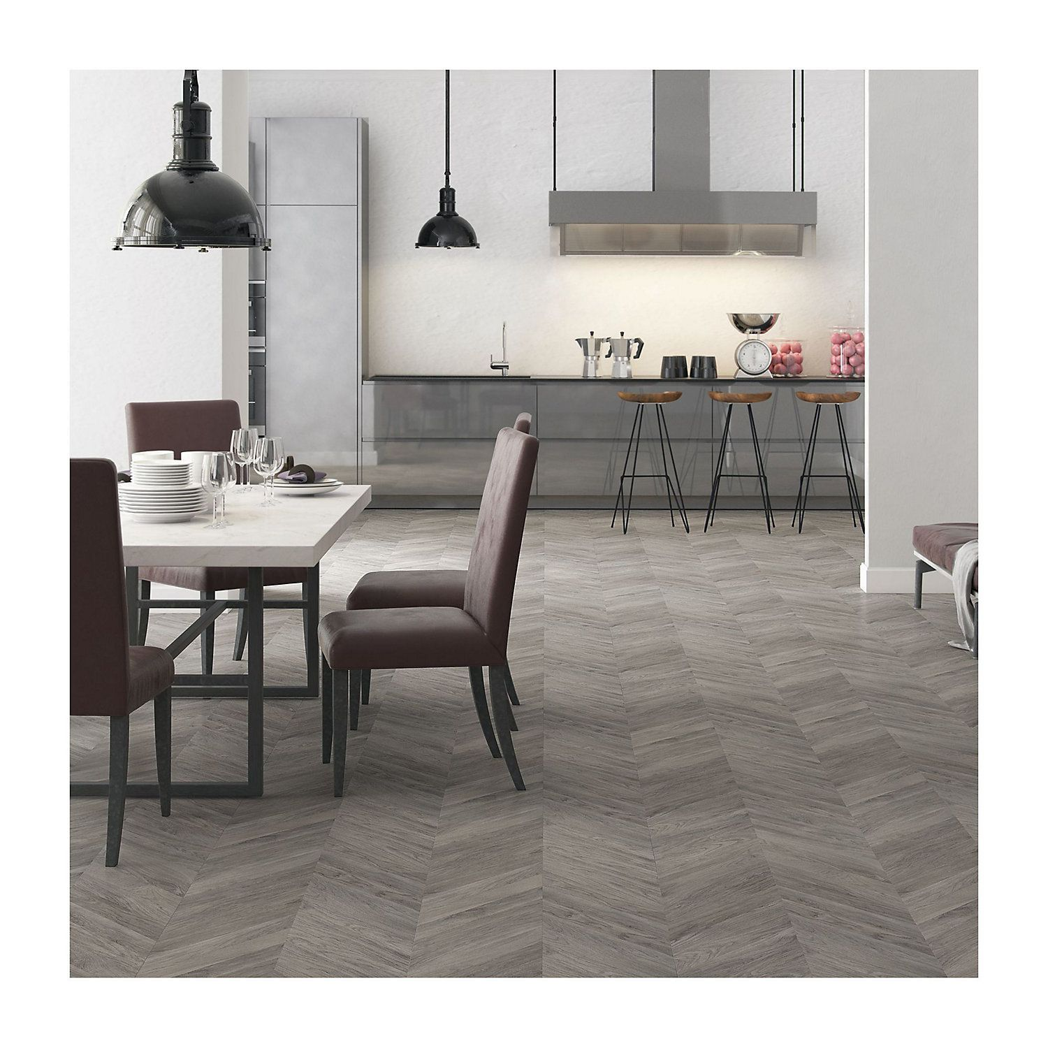 Alessano Grey Oak effect Laminate flooring 1.39 m² Pack