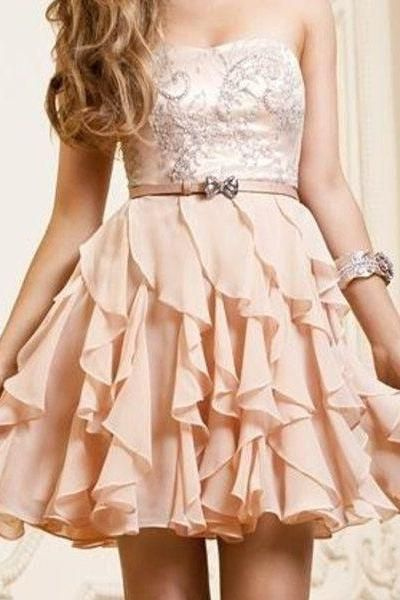 Chiffon Short Prom Dresses, Sweetheart , Cute Homecaming Dresses ...