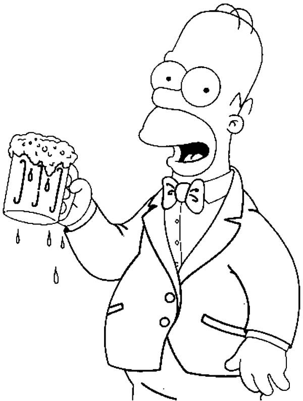 beer coloring pages | Beer, Homer with a Beer Coloring Pages: Homer ...