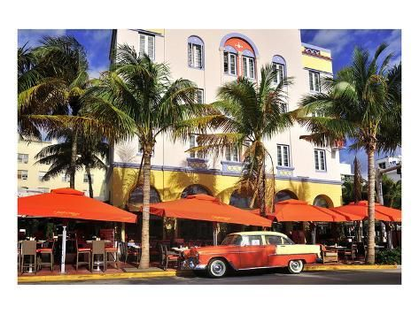 Classic Car in front of the Paparazzi Restaurant, Ocean Drive Premium Giclee Print by | Art.com