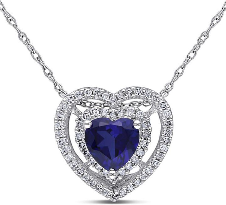 f4bba96e61bae 6.0mm Heart-Shaped Lab-Created Blue Sapphire and 1/5 CT. T.w. ...