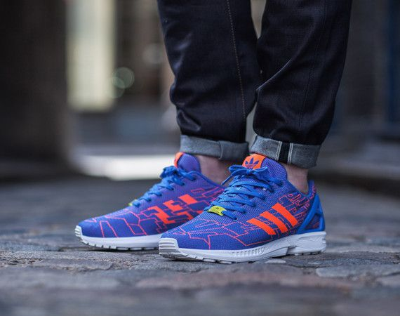 Mens adidas ZX Flux Running Shoes Sz 10.5 XENO Reflective Blue