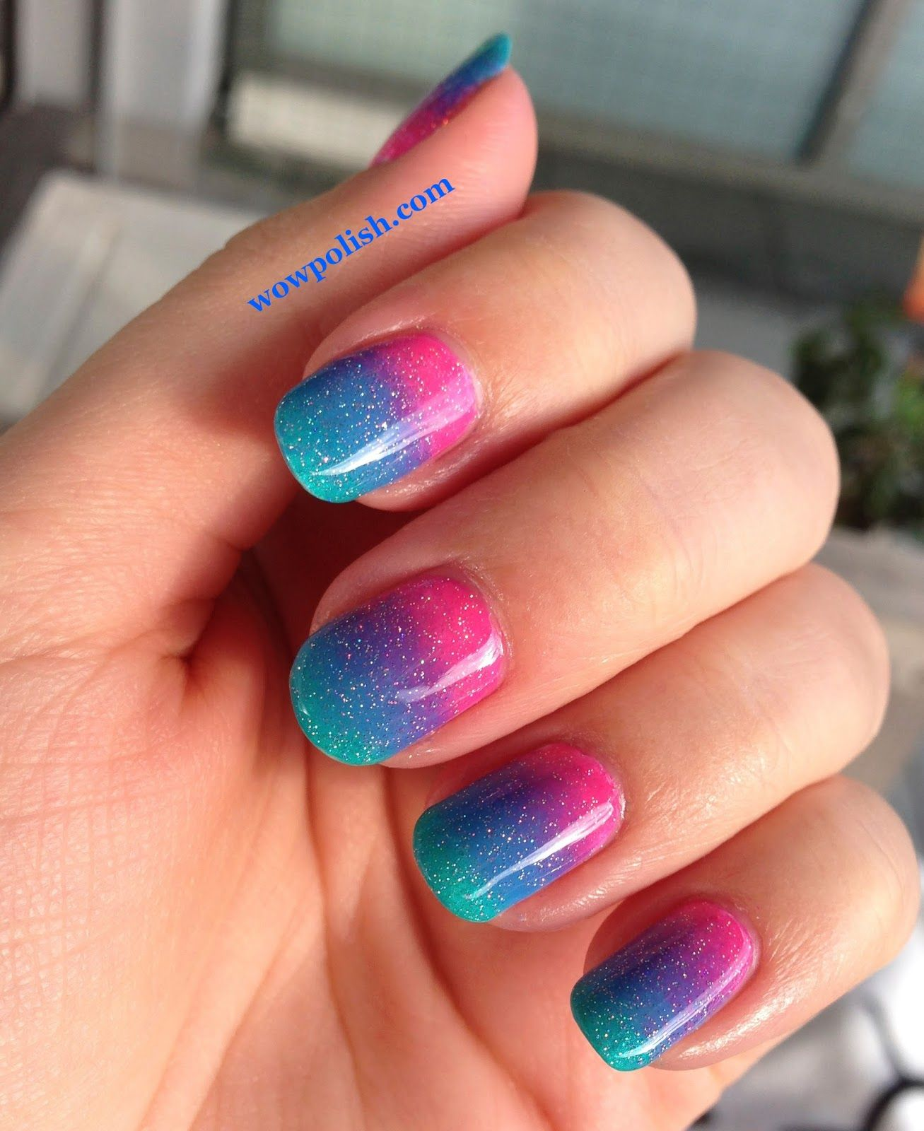 wow polish: gradient nail art: pink, blue and turquoise (dark