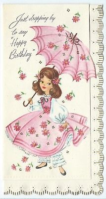 Vtg Birthday Card Young Girl Pink Dress Parasol Glitter Mid Century
