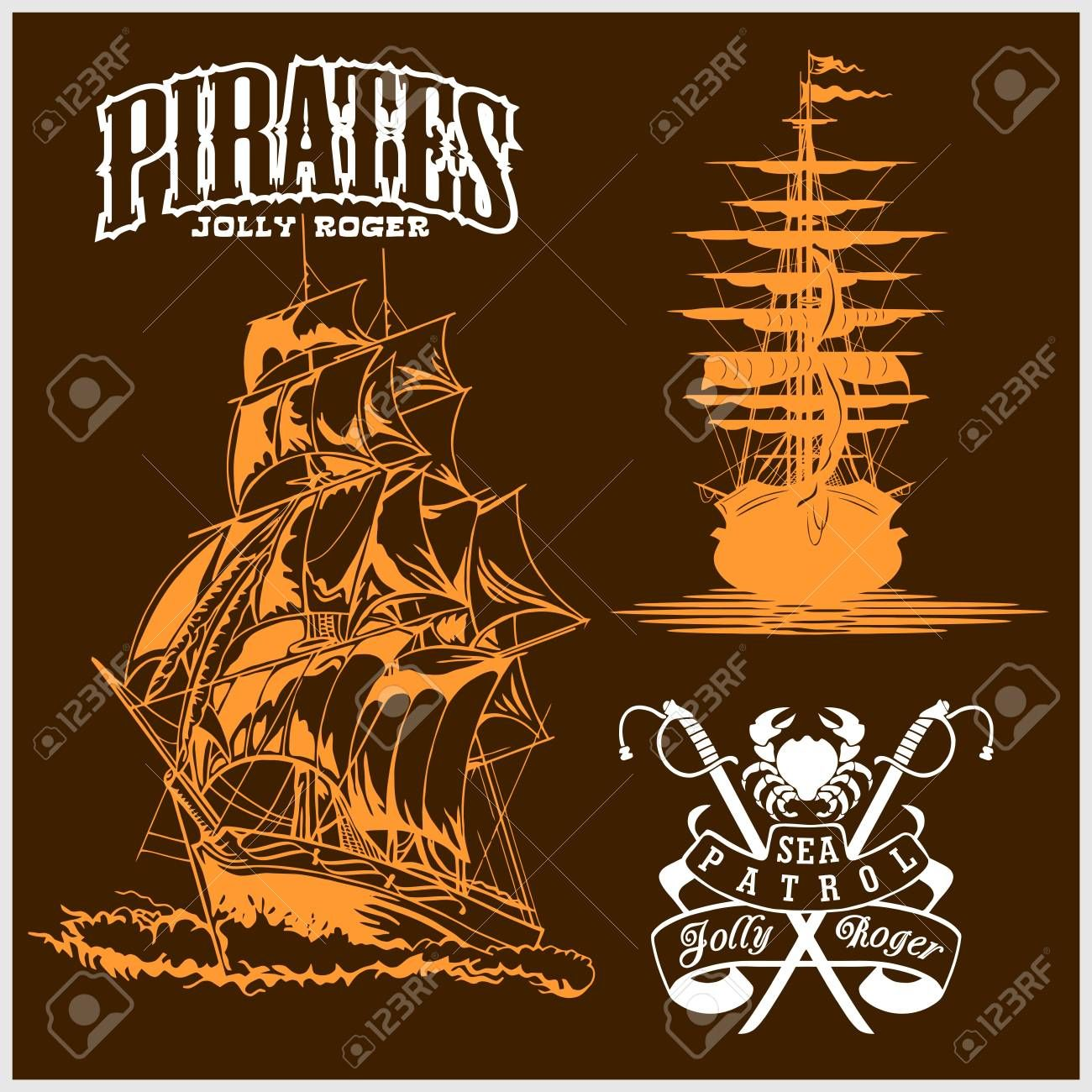 Sea Emblem Pirate Ship And Jolly Roger Ad Pirate Emblem Sea Roger Jolly Print Design Trends Jolly Roger Jolly