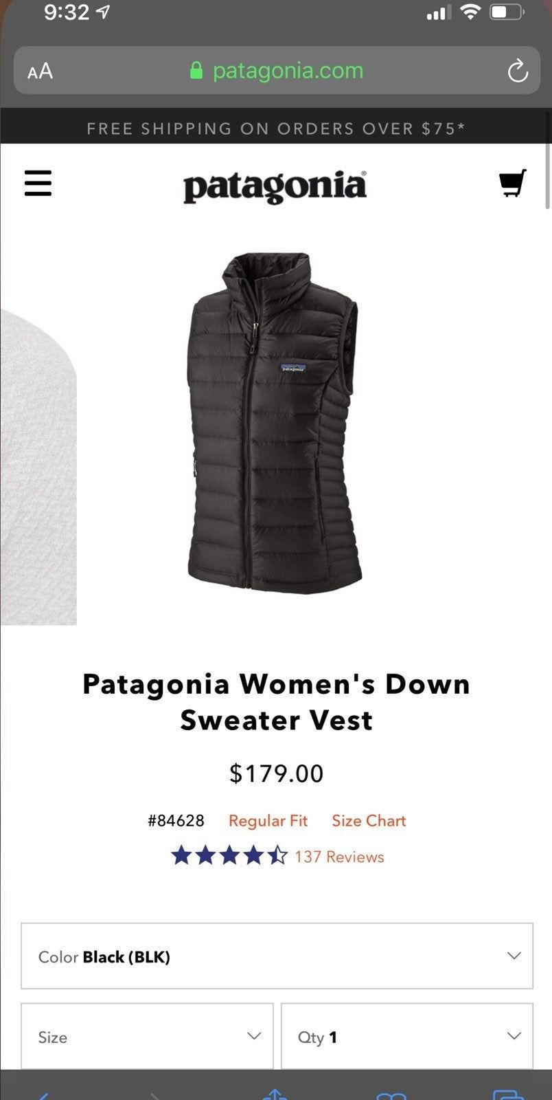 Worn A Handful Of Times But Still In Excellent Condition Black Down Puffer Vest Black Down Black Patagonia Womens