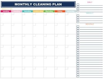 monthly cleaning planner checklist calendar elementary school