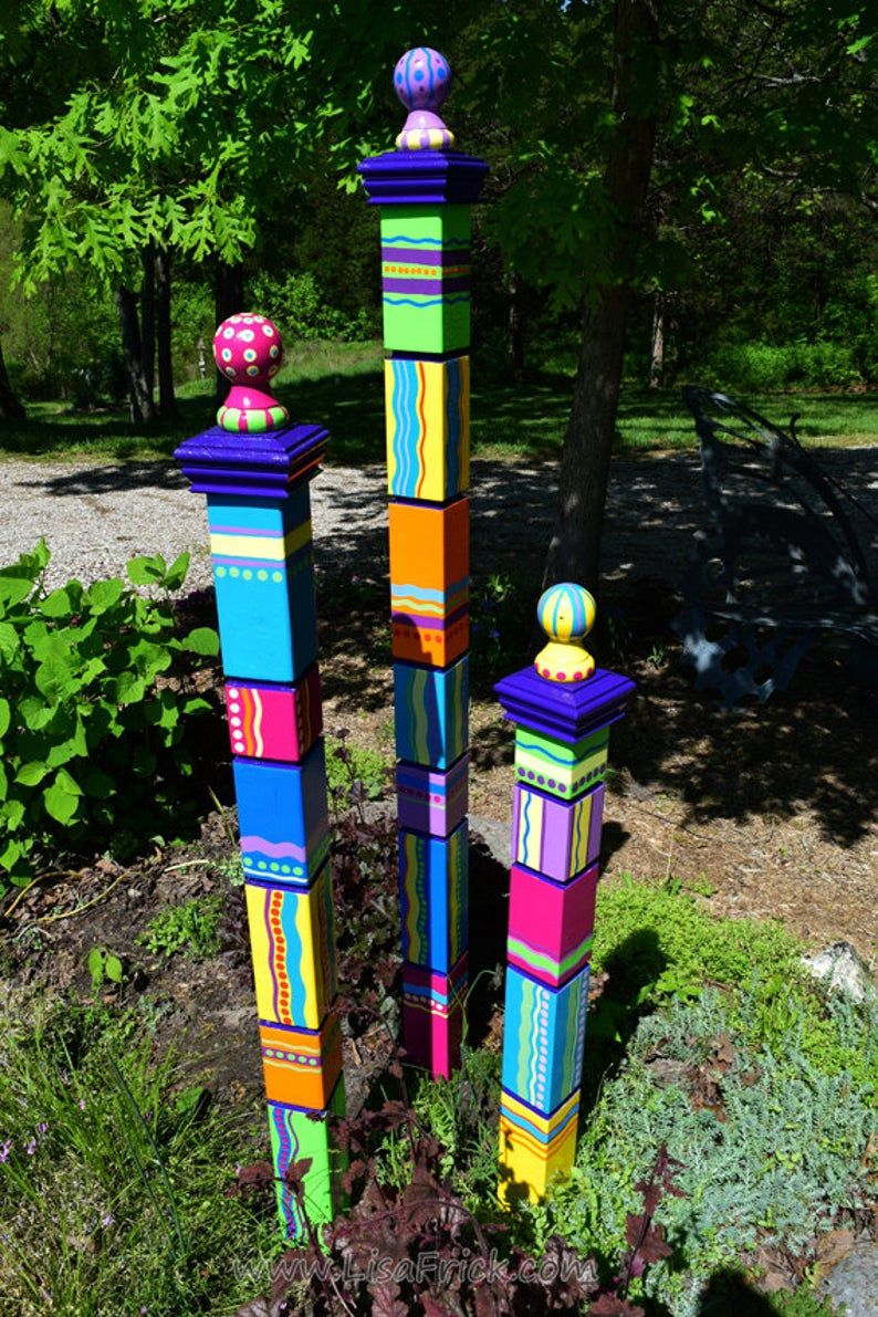 Garden Totems Hand Painted Garden Art Garden Sculpture   Etsy