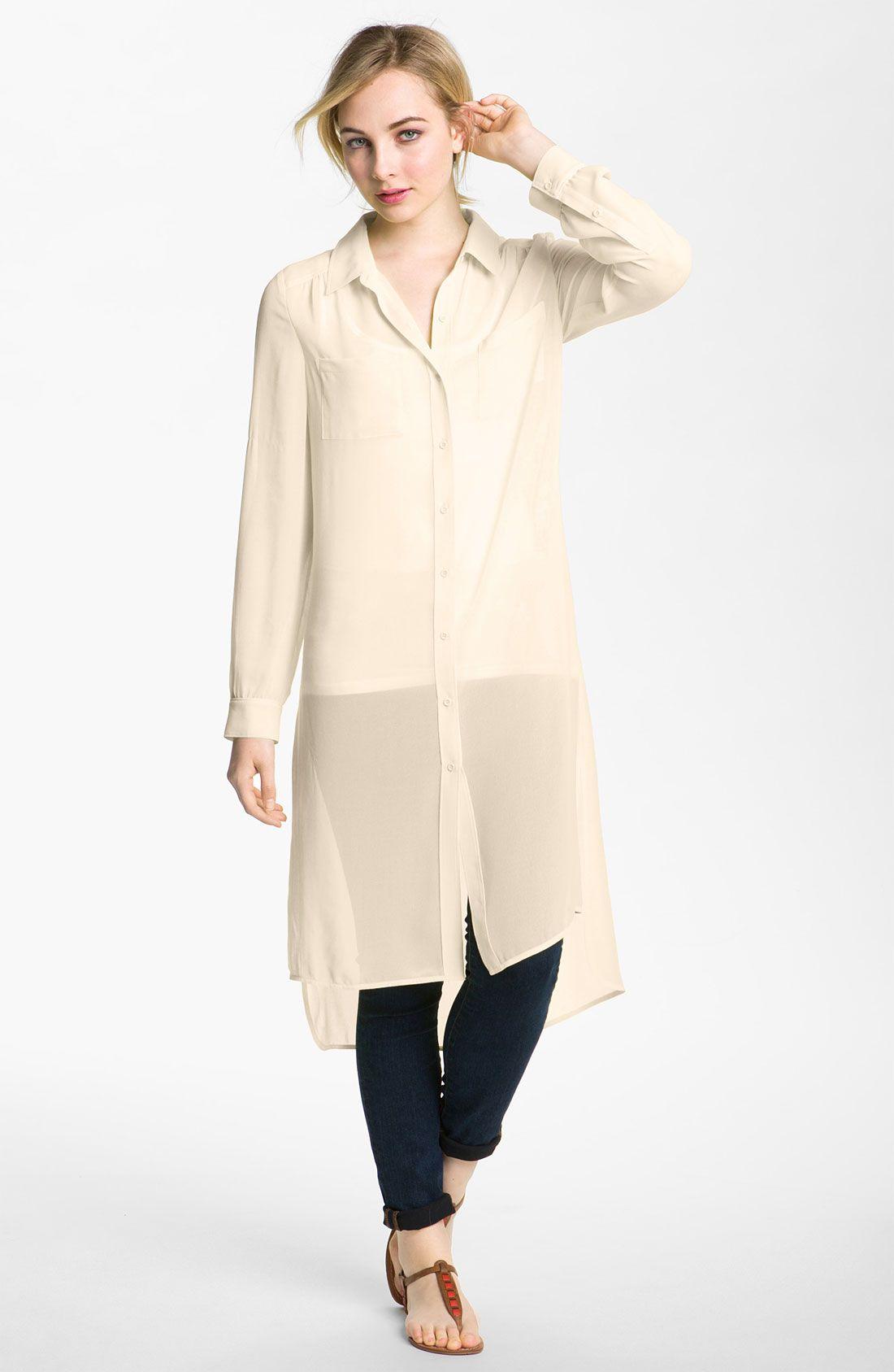 7105dee057b5 Trouve Sheer Button Down Shirt Dress    3  3  3   Sheer chiffon ...