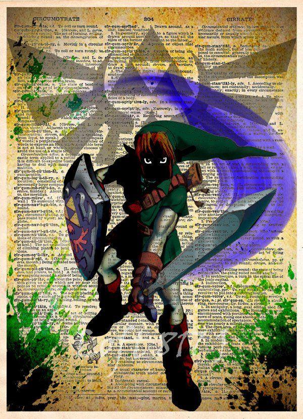 Legend of Zelda art, Link Zelda art, Zelda Triforce, video game