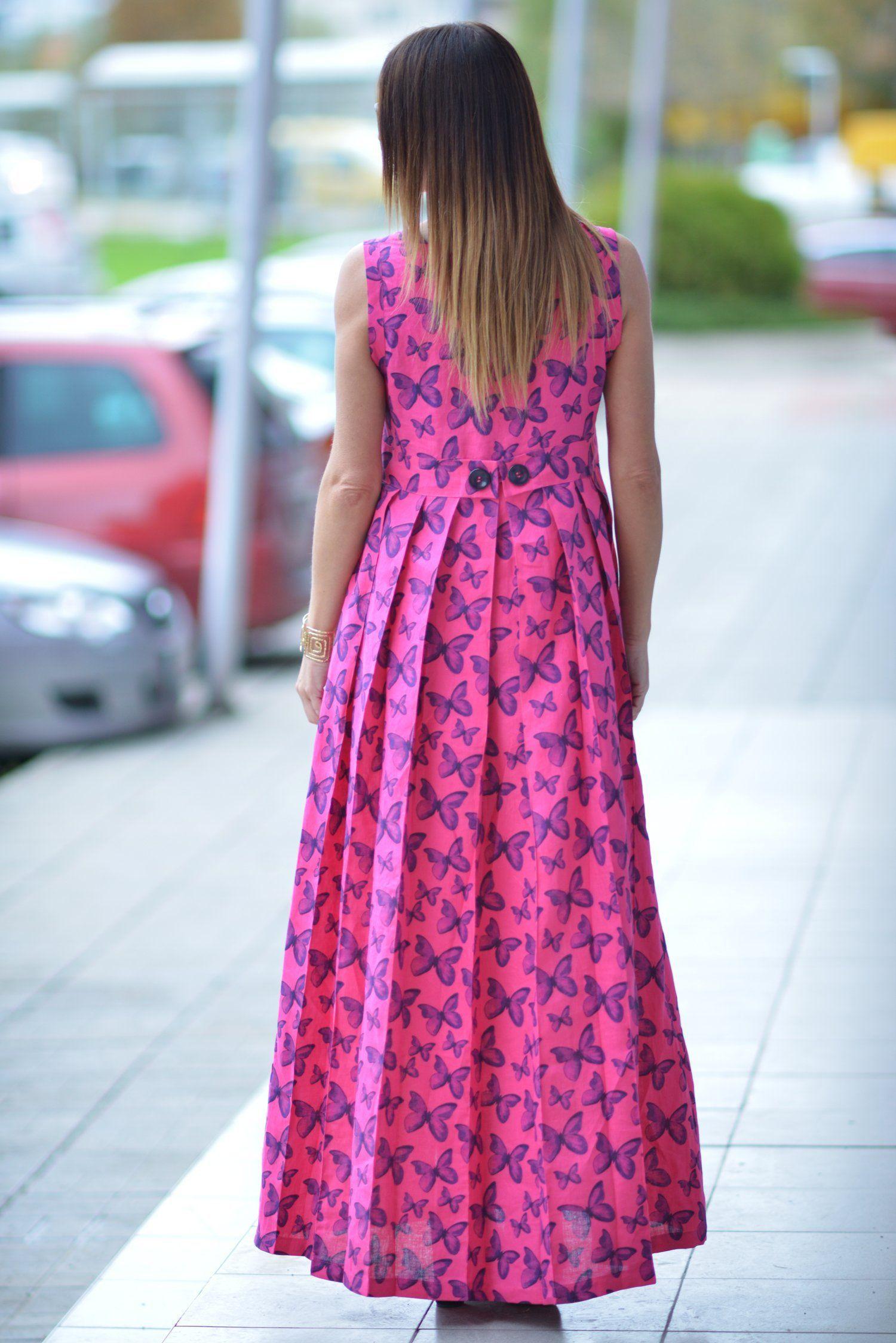 Summer hot pink maxi dress on butterfly long maxi dress fuchsia