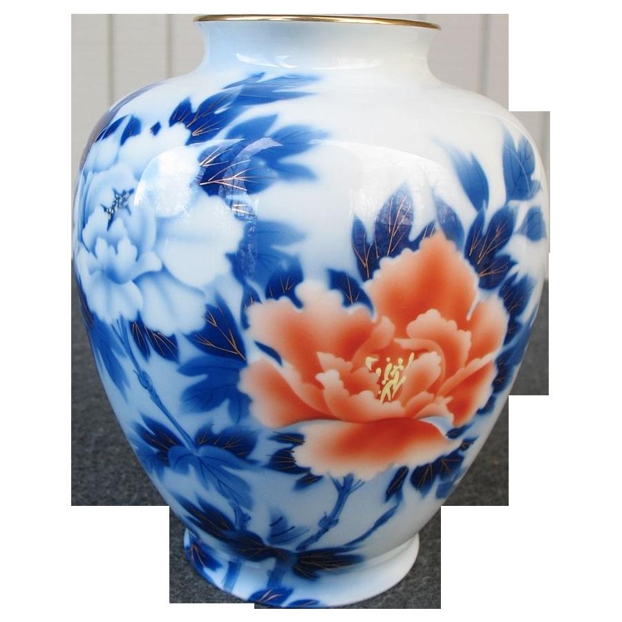 Vintage large size fukagawa white porcelain vase with blue and red vintage large size fukagawa white porcelain vase with blue and red peonies floridaeventfo Choice Image