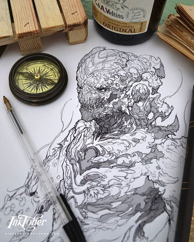 Inktober :) #instaart #instadraw #proartists #artista #artoftheday #arte #art #artist #art_Spotlight #art #artist_sharing #artwork #print #digitalpainting #artedigital #digitalart #dibujantenocturno #illustration #illustrations #ilustracion #conceptart #conceptartist #inktober2016 #ink #inktober