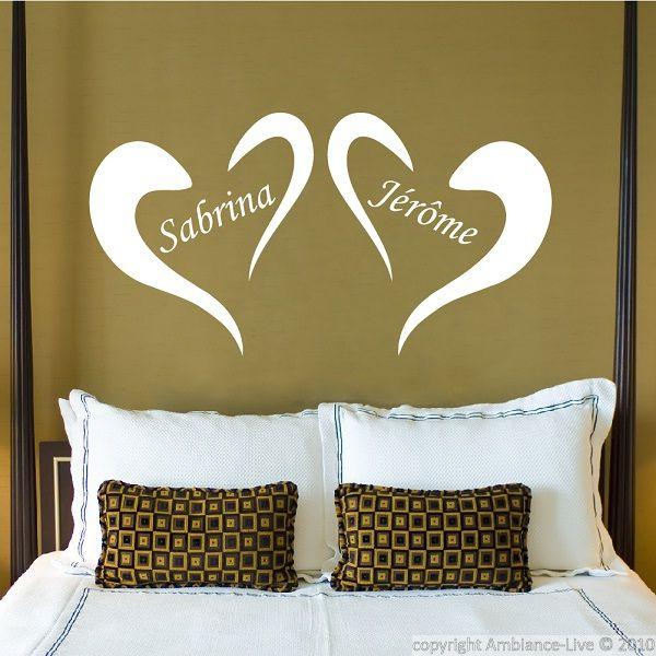 Cœurs personnalisés stickers muraux chambre ambiance live com