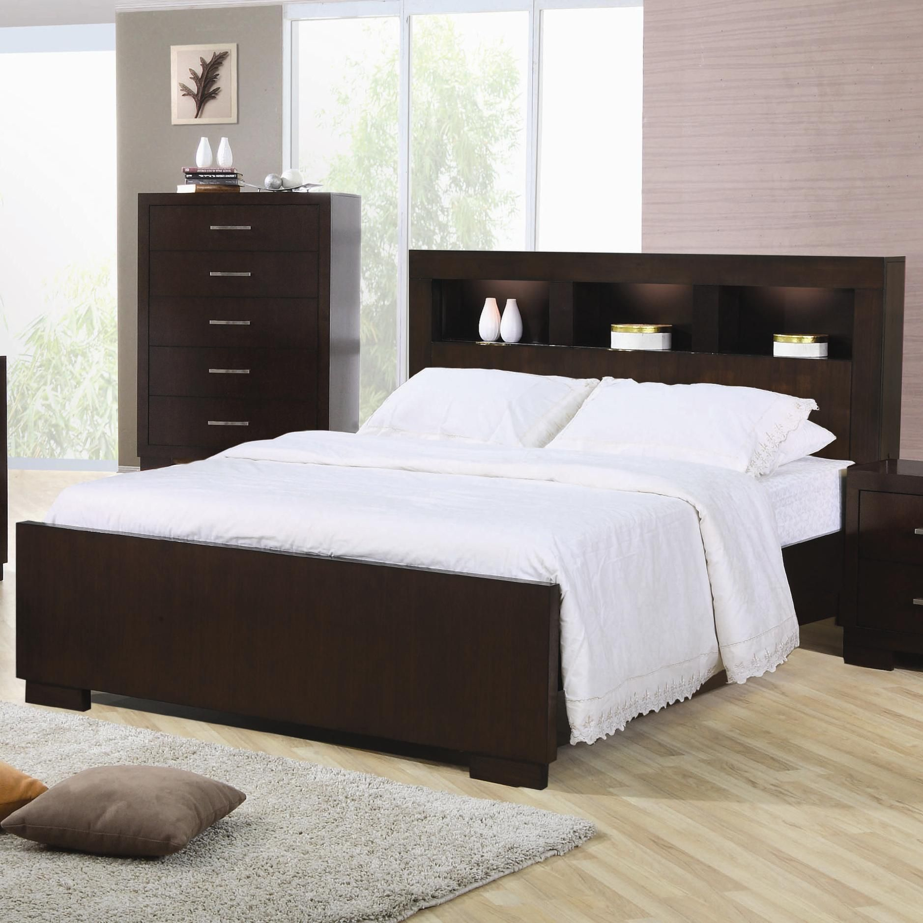 Best Jessica Queen Contemporary Bed With Storage Headboard And 640 x 480