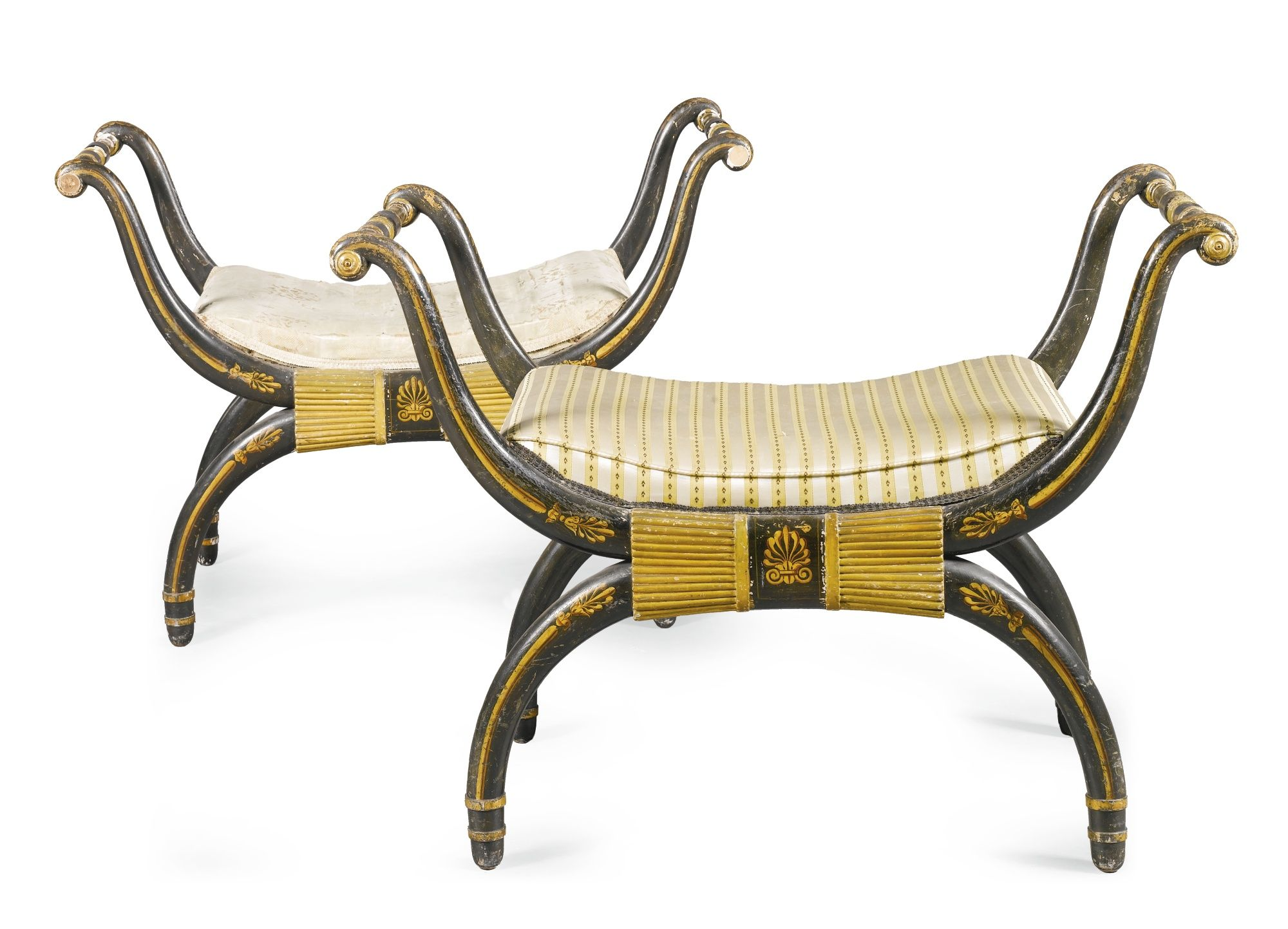 A Pair Of Regency Ebonised And Parcel Gilt Stools In The Manner  # Thomas Hope Muebles