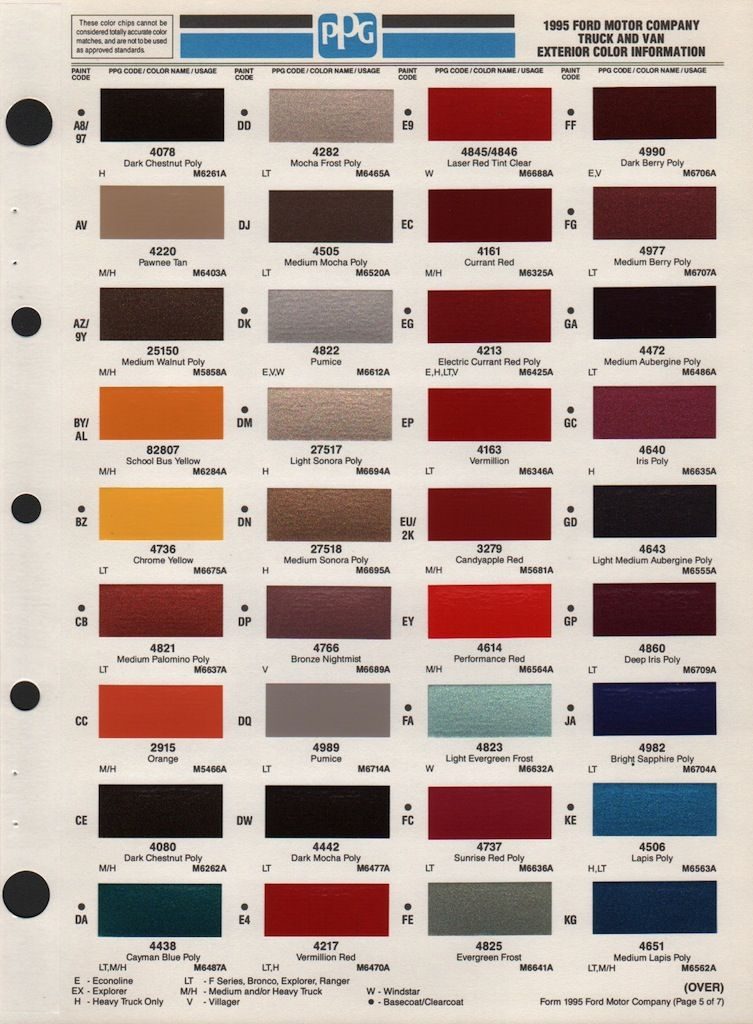 Color Chart 75 Ford Bronco Bronco Ford