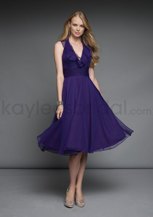 Chiffon Deep V-neck Ruched Bodice Knee-length Bridesmaid Dress ...