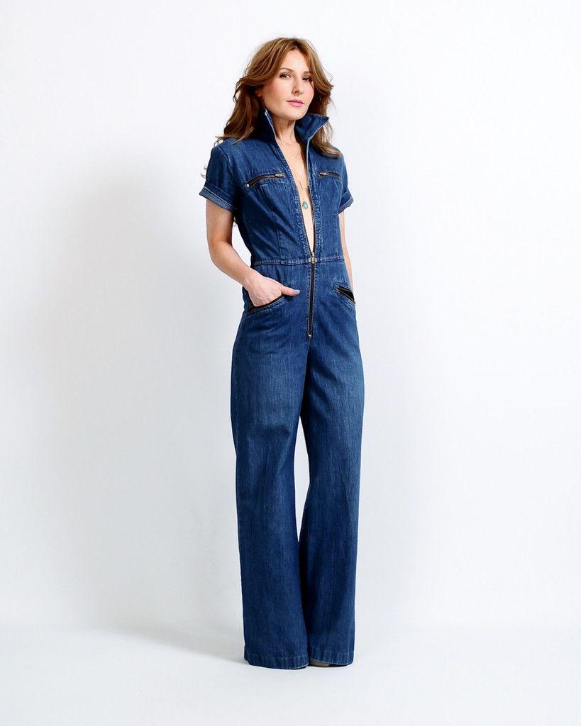 70s Denim Bell Bottom Jumpsuit | Jeans Mood | Pinterest ...
