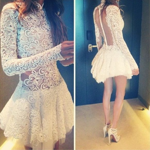 Selena gomez mini white lace dress