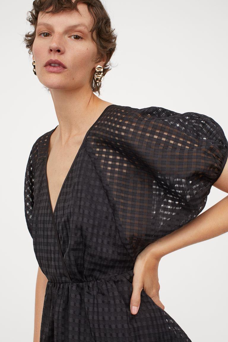 kleid mit puffärmeln - schwarz - ladies | h&m de | kurze
